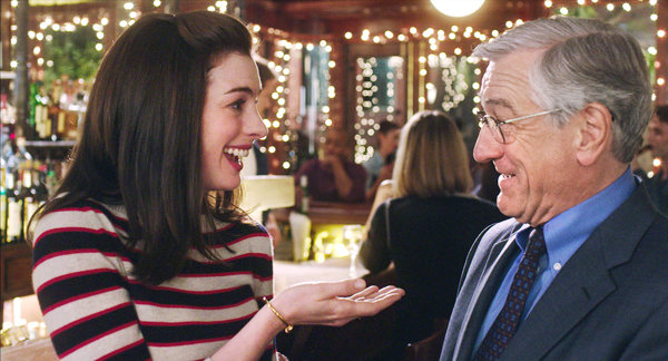 "Anne Hathaway and Robert De Niro, in ""The Intern,"" which opens on Friday, Sept. 25. Credit Warner Bros. Pictures"