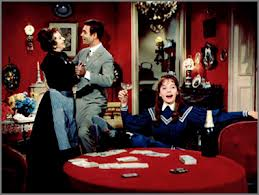 "Hermione Gingold, Louis Jourdan and Leslie Caron in ""Gigi."""