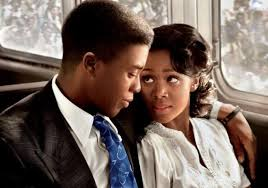 "Chadwick Boseman and Nicole Beharie as Jackie and Rachel Robinson in ""42."""