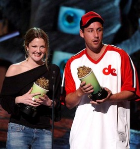 """Drew Barrymore and Adam Sandler clutch MTV awards for """"50 First Dates"""""""